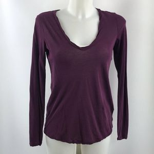 James Perse Purple Long Sleeve Top Size Small
